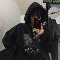 Sweater / sweater Winter 2020 black M,L,XL Long sleeves routine Socket singleton  Plush Hood easy street routine letter 18-24 years old 91% (inclusive) - 95% (inclusive) Other / other polyester fiber printing neutral