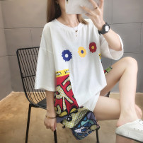 Dress Summer 2020 White black M L XL 2XL Mid length dress singleton  Short sleeve commute Crew neck Cartoon animation other routine Others 18-24 years old Type H Siyayi Korean version printing S73j 31% (inclusive) - 50% (inclusive) knitting cotton New polyester 65% cotton 35%