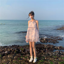 Dress Summer 2021 Picture color S,M,L,XL Short skirt singleton  Sleeveless commute V-neck High waist Decor Socket A-line skirt routine camisole 18-24 years old Type A Korean version printing 71% (inclusive) - 80% (inclusive) Chiffon other