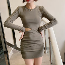 Dress Autumn 2020 Grey, black, army green Average size Short skirt singleton  Long sleeves commute Crew neck High waist Solid color Socket One pace skirt routine 25-29 years old Type H Korean version Splicing brocade polyester fiber