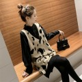 Women's large Autumn 2020 Black shirt + black vest, apricot shirt + apricot vest, black vest, apricot vest, black shirt piece, apricot shirt piece Large L, large XL, s, M Dress commute easy Leopard Print Korean version V-neck Medium length 18-24 years old 96% and above