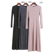 Dress Spring 2021 Black, army green, dark green, red, black flower, khaki, bean paste, purple XS,S,M,L Mid length dress singleton  Long sleeves routine Type A 11338B-18-10-3