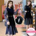 Nursing clothes Blue, black· M,L,XL,2XL Other / other Socket spring and autumn Long sleeves Medium length Korean version Dress Solid color Side opening