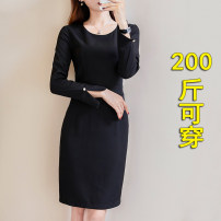 Dress Spring 2020 Black, blue L,XL,2XL,3XL,4XL,5XL Mid length dress singleton  Long sleeves commute Crew neck middle-waisted Solid color Socket Pencil skirt other Others Type H Korean version 81% (inclusive) - 90% (inclusive) other nylon
