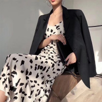 Dress Spring 2021 Black, black and white S,M,L,XL longuette singleton  Sleeveless commute V-neck middle-waisted Animal design zipper Ruffle Skirt other camisole 25-29 years old Type A Korean version Backless, printed other Cellulose acetate