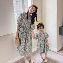 Dress Summer 2020 Light yellow, pink 90cm (suitable for 80cm-85cm), 100cm (90cm-95cm), 110cm (suitable for 100cm-105cm), 120cm (110cm-115cm), 130cm (120cm-125cm), one size for mom singleton  Short sleeve Sweet other Loose waist Broken flowers other other other Others Under 17 Other / other other Mori