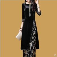 Women's large Spring of 2018 black Large XL, large XXL, large XXXL, large L, M Two piece set thick other