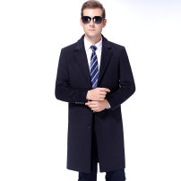 woolen coat Grey 1 / 16, Navy 46-165,48-170,50-175,52-180,52-185 Others Business gentleman Polyester 100% Medium length Travel? Self cultivation middle age tailored collar Single breasted Animal design autumn Zipper bag wool No iron treatment printing