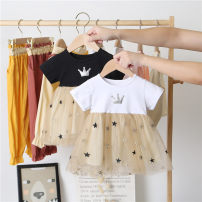 Dress female Yu Shengli Cotton 70% other 30% summer leisure time Short sleeve Solid color cotton skirt 12 months, 6 months, 9 months, 18 months, 2 years old, 3 years old, 4 years old, 5 years old, 6 years old Chinese Mainland Guangdong Province Foshan City