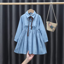 Dress female Yu Shengli 90y(80cm),100y(90cm),110y(100cm),120y(110cm),130y(120cm),140y(130cm) Cotton 50% other 50% No season leisure time Long sleeves Solid color Cotton polyester other 12 months, 18 months, 2 years old, 3 years old, 4 years old, 5 years old, 6 years old, 7 years old, 8 years old