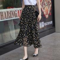 skirt Summer 2021 XS,S,M,L,XL Decor Mid length dress Versatile High waist A-line skirt Decor Type A 25-29 years old SD988 Zipper, stitching, printing
