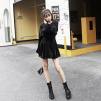 Dress Winter of 2019 black XS,S,M,L Short skirt singleton  Long sleeves commute Crew neck High waist Solid color Socket A-line skirt routine Others 25-29 years old Type X MUCHA STUDIO Fold, tie, thread 31% (inclusive) - 50% (inclusive) other polyester fiber