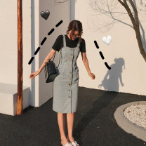 Dress Spring 2021 wathet S,M,L Mid length dress singleton  Sleeveless commute other High waist Solid color Single breasted A-line skirt other camisole Type H Other / other Korean version 904-L524 More than 95% other cotton