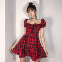 Dress Summer 2021 gules S,M,L Short skirt singleton  Short sleeve street square neck High waist lattice zipper A-line skirt puff sleeve Others 18-24 years old Type A Open back, lace up HSMLD02014 51% (inclusive) - 70% (inclusive) polyester fiber Europe and America