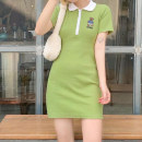 Dress Summer 2021 green S,M,L Short skirt singleton  Short sleeve street Polo collar High waist Cartoon animation Socket One pace skirt routine Others 18-24 years old Type H Embroidery, stitching AMMCD12931 31% (inclusive) - 50% (inclusive) cotton Europe and America