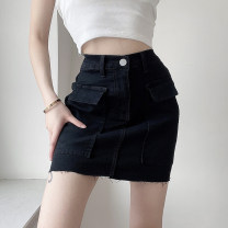 skirt Spring 2021 S,M,L black Short skirt street High waist skirt Solid color Type H 18-24 years old AMMCD11799 51% (inclusive) - 70% (inclusive) Denim cotton pocket Europe and America