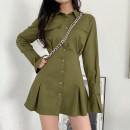 Dress Autumn 2020 Army green, black, white S,M,L Short skirt singleton  Long sleeves commute A-line skirt shirt sleeve Type A Retro AMD3684W0F 71% (inclusive) - 80% (inclusive) cotton