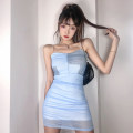 Dress Summer 2021 blue S, M Short skirt singleton  Sleeveless commute High waist Decor A-line skirt camisole 18-24 years old Type A Retro Open back, fold, chiffon AMVCD13139 51% (inclusive) - 70% (inclusive) Chiffon polyester fiber