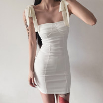Dress Summer 2021 Black, apricot S, M Short skirt singleton  Sleeveless street High waist Solid color A-line skirt camisole 18-24 years old Type A Open back, lace up, bandage AMVCD12412 51% (inclusive) - 70% (inclusive) other cotton Europe and America