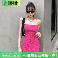 Dress Spring 2021 rose red S,M,L Short skirt singleton  Sleeveless commute High waist A-line skirt camisole Retro HSVAD10434 polyester fiber
