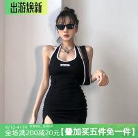 Dress Summer of 2019 Black, sling S,M,L Short skirt singleton  Sleeveless street Hanging neck style Europe and America