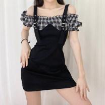 Dress Summer 2020 black S,M,L,XL Short skirt singleton  Short sleeve commute One word collar puff sleeve Hanging neck style Retro 51% (inclusive) - 70% (inclusive) polyester fiber