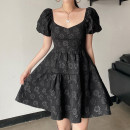 Dress Summer 2021 black S,M,L Short skirt singleton  Short sleeve street square neck High waist Solid color Socket A-line skirt puff sleeve Others 18-24 years old Type A Embroidery AMWAD10835 91% (inclusive) - 95% (inclusive) polyester fiber Europe and America