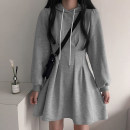 Dress Autumn 2020 Gray, black S,M,L,XL Short skirt singleton  Long sleeves street Hood High waist A-line skirt routine Type A AMD8401W0J 51% (inclusive) - 70% (inclusive) cotton Europe and America