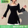 Dress Spring 2021 black S,M,L Short skirt singleton  Long sleeves commute square neck High waist A-line skirt routine Type A Retro AMWKD01511 31% (inclusive) - 50% (inclusive) polyester fiber