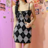 Dress Spring 2021 black S,M,L Short skirt singleton  Sleeveless commute High waist A-line skirt camisole Retro AMMBD11410 51% (inclusive) - 70% (inclusive) knitting polyester fiber