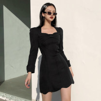 Dress Winter 2020 black S,M,L Short skirt singleton  Long sleeves square neck High waist Solid color Socket One pace skirt routine Others 18-24 years old Type H AMD9290V0K 51% (inclusive) - 70% (inclusive) polyester fiber