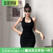 Dress Spring 2021 black S,M,L Short skirt singleton  Sleeveless street High waist Solid color A-line skirt Hanging neck style 18-24 years old Type A Bareback, bandage, neck AMD3698W0F 31% (inclusive) - 50% (inclusive) brocade polyester fiber Europe and America