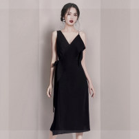 Dress Summer of 2019 black S,M,L,XL,2XL Mid length dress singleton  Sleeveless commute V-neck High waist Solid color zipper One pace skirt other camisole Korean version Frenulum nylon
