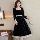 Dress Autumn 2020 black S,M,L,XL Mid length dress singleton  Long sleeves commute square neck High waist Solid color Socket A-line skirt routine Others Type A Retro Splicing