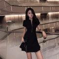 Dress Summer of 2019 black S,M,L,XL,2XL Middle-skirt singleton  Short sleeve commute High waist zipper A-line skirt routine Others Type A Korean version
