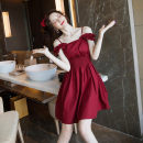 Dress Summer 2020 Berry red S,M,L,XL Short skirt singleton  Short sleeve commute One word collar High waist Solid color zipper A-line skirt other camisole 18-24 years old Type A Retro Panel, zipper