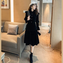Dress Winter 2016 black S,M,L,XL singleton  Long sleeves commute Crew neck High waist Solid color zipper A-line skirt pagoda sleeve Others 18-24 years old Type A Other / other Korean version Lotus leaf edge
