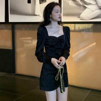Dress Spring 2021 Black, gray S,M,L,XL Short skirt singleton  Long sleeves commute square neck High waist Solid color Socket A-line skirt shirt sleeve Others Type A Korean version Chain, fold, splice