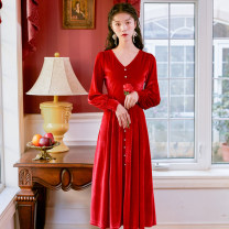 Dress Winter of 2019 S,M,L,XL Mid length dress singleton  Long sleeves commute V-neck High waist Solid color Socket A-line skirt bishop sleeve Others Type A Retro Button