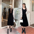 Dress Autumn 2020 black S,M,L,XL Mid length dress singleton  Long sleeves commute square neck High waist Solid color Socket A-line skirt routine Type A Korean version Button, stitching