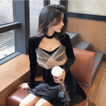 Dress Autumn 2020 black S,M,L,XL Short skirt singleton  Long sleeves commute other High waist Solid color Socket A-line skirt routine Hanging neck style Type A Retro