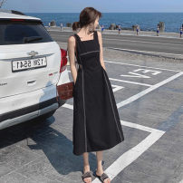 Dress Summer 2020 White, black S,M,L longuette singleton  Sleeveless commute square neck High waist Solid color other A-line skirt other camisole Type A Korean version