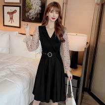 Dress Autumn 2020 black S,M,L,XL,2XL Middle-skirt singleton  Long sleeves commute V-neck High waist Solid color Socket A-line skirt puff sleeve Others 18-24 years old Type A Korean version Hollowed out, stitched, gauze net