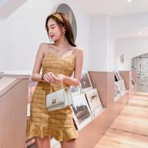 Dress Summer of 2019 Pink, yellow S,M,L,XL,2XL Short skirt singleton  Sleeveless commute One word collar High waist lattice zipper Ruffle Skirt camisole 18-24 years old Type X Korean version Ruffles, zippers