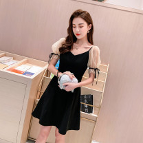 Dress Summer 2020 black S,M,L,XL,2XL Short skirt singleton  Short sleeve commute V-neck High waist Solid color zipper A-line skirt routine Others Type A Korean version Stitching, nail bead