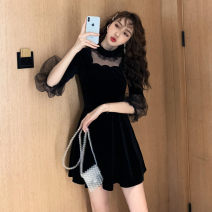 Dress Autumn of 2019 black S,M,L,XL Middle-skirt singleton  Nine point sleeve commute stand collar Solid color Socket A-line skirt puff sleeve Others 18-24 years old Type A Other / other Korean version Stitching, mesh, zipper
