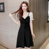 Dress Summer 2020 Red, black S,M,L,XL Mid length dress Fake two pieces Short sleeve commute Crew neck High waist Dot Socket Big swing puff sleeve Others Type X Lace up, stitching, zipper