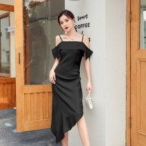 Dress Summer 2021 Cyan, black S,M,L,XL Middle-skirt singleton  Sleeveless commute One word collar High waist Solid color Socket Irregular skirt other camisole Type A Simplicity