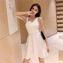 Dress Summer of 2019 White, black S,M,L,XL Short skirt singleton  Sleeveless commute V-neck High waist Solid color Socket A-line skirt Others 18-24 years old Type A Korean version Asymmetry