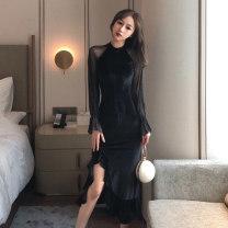 Dress Spring 2021 black S,M,L,XL Mid length dress singleton  Long sleeves commute Crew neck High waist Solid color Socket Ruffle Skirt routine Others Type H Korean version Ruffles, stitching, mesh